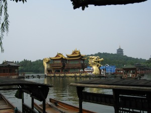 the west lake floating pagodas (you could also take small boats for RMB80)