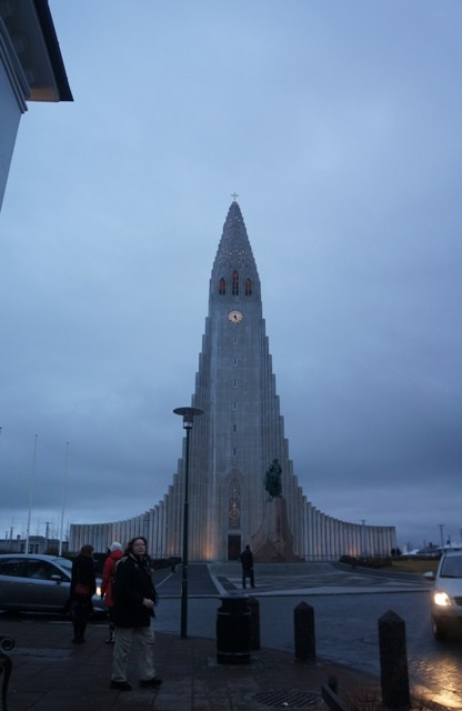 The Hallgrímskirkja, a Lutheran church in the midst of the city. Easily recognizable with its unique shape.