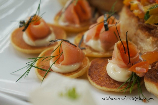 Bite-sized blinis with smoked salmon and dill. The only savory pancake I've liked to date!