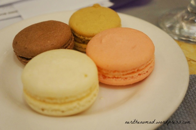 The macarons -- vanilla, chocolate, rose, and mocha