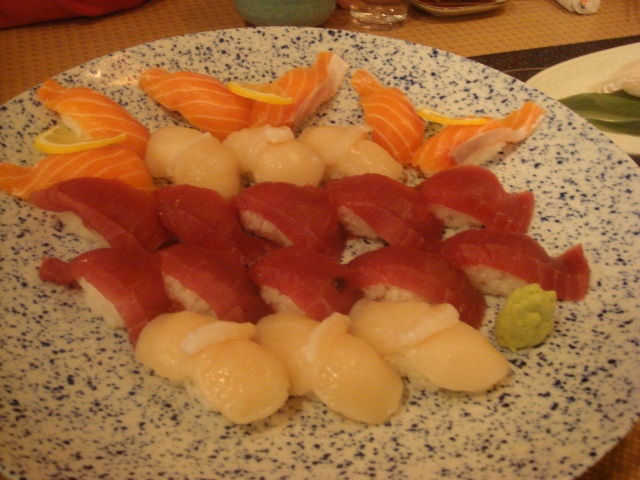 The usual suspects: tuna, salmon, and scallop. We also had whale sushi though--which I hope was fished sustainably!