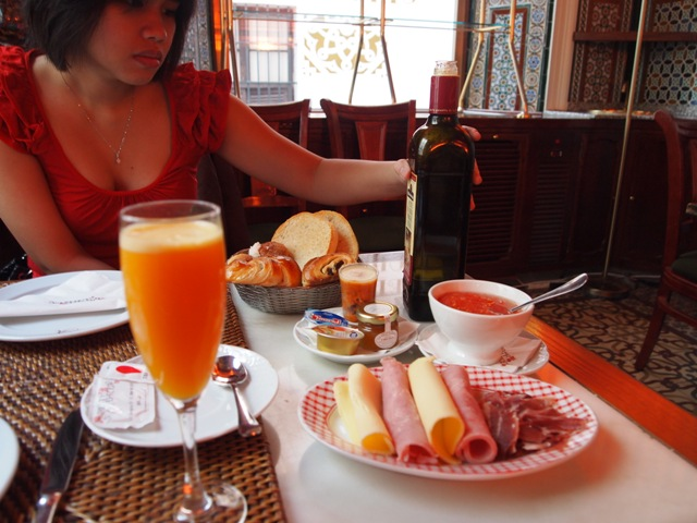 The best hotel breakfast we've had EVER. Fresh squeezed orange juice, hot baked bread, sweet olive oil, and coffee with kick. Oh-- and thank you Taberna, for introducing me to the joys of Iberian ham.