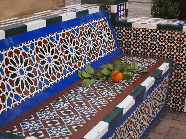 A beautiful tile bench, and more oranges.