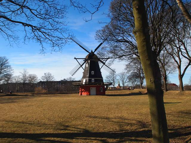 a small windmill in the Kastellet