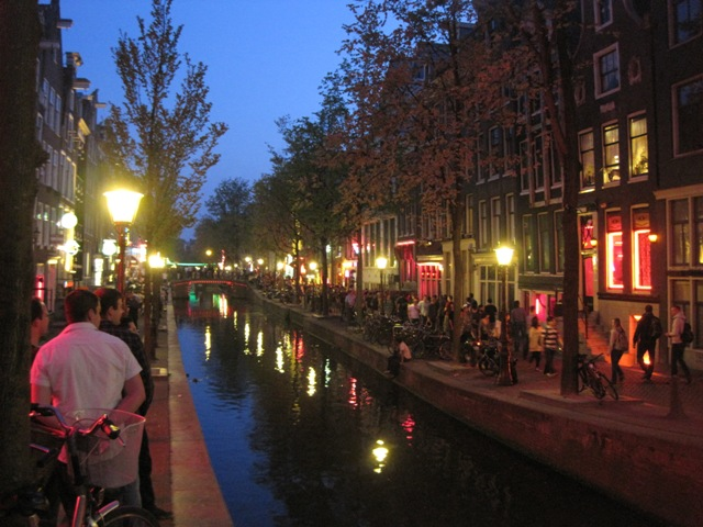 The Red Light District at night. More lookers than buyers.