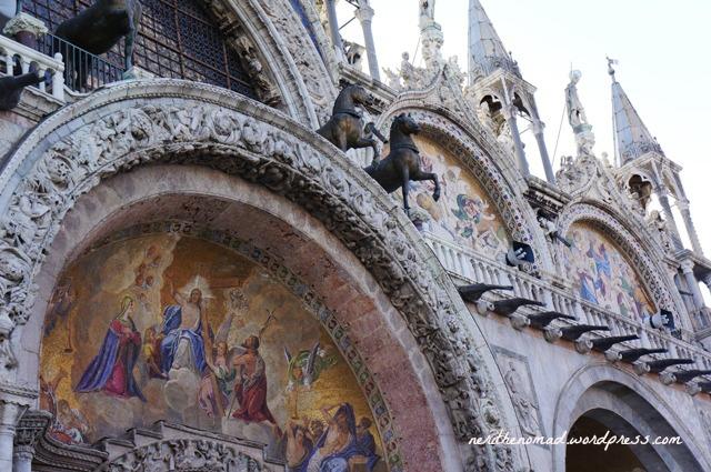 Basilica facade with detailed mosaics