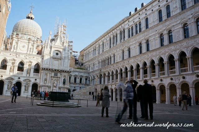 the courtyard in the Doge's Palace, one of the two places you're allowed to take photos